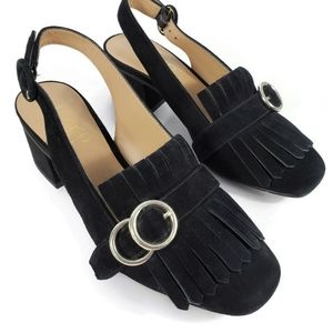 Franco Sarto black slingback with fringe size 5.5